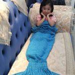 Hughapy Mermaid Blanket Kids Knitted Sleeping Bag Sofa Falbala Mermaid Tail Bed Throw Blanket (55″x28″, Light Blue)