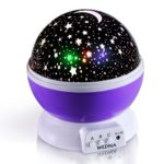 WEDNA Rotating Galaxy Night Light, Romantic Cosmos Star Moon Sky Projector, Bedside Lamp, Rotation Light, Night Sky Projector for Babies and Kids Bedroom (Purple)