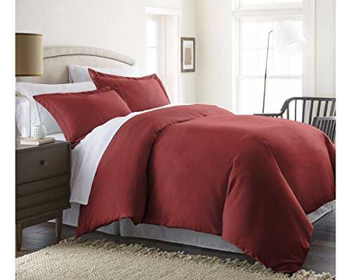 Beckham Hotel Collection Luxury Soft Brushed 1800 Series Microfiber 3 Piece Duvet Cover Set – Hypoallergenic – Twin/TwinXL, Burgundy