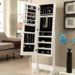 White Finish Jewelry Cabinet Freestanding Floor Mirror Stand Makeup Armoire Organizer – Rings, Necklaces, Bracelets