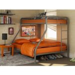 Dorel Twin-Over-Full Silver Metal Bunk Bed with Set of 2 Mattresses, Tan/Navy