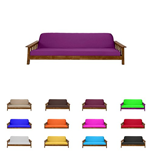 Futon Mattress Cover Solid Color Choose Color and Size Twin Full Queen (Full (6″x54″x75″), Purple)
