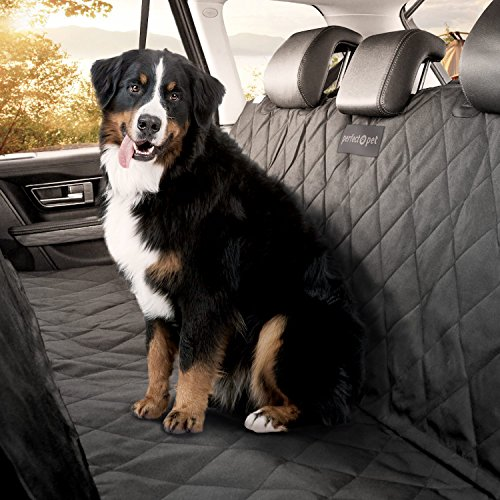Perfect Pet® Seat Cover – Best Dog And Cat Car Seat Cover & Hammock – Machine Washable – Waterproof Non-Slip Quilted Blanket Protects Seats in Cars, Trucks, SUVs & Vans From Stains and Hair – Black