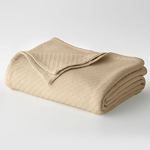 Cotton Craft – 100% Soft Premium Cotton Thermal Blanket – King Beige – Snuggle in these Super Soft Cozy Cotton Blankets – Perfect for Layering any Bed – Provides Comfort and Warmth for years