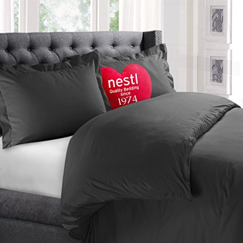 Nestl Bedding Duvet Cover, Protects and Covers your Comforter / Duvet Insert, Luxury 100% Super Soft Microfiber, King Size, Color Charcoal Gray, 3 Piece Duvet Cover Set Includes 2 Pillow Shams