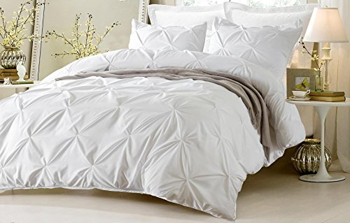 3pc Pinch Pleat Design White Duvet Cover Set Style # 1006 – Full/Queen – Cherry Hill Collection