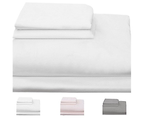 Homefair Linen Bedsheet 500 Thread Count 100% Egyptian Cotton Twin Sheet Set, 3 Piece Bedding Set, Elastic 16 inch Deep Pocket, Edge Hemstitch, White
