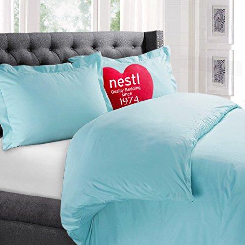 Nestl Bedding Duvet Cover, Protects and Covers your Comforter / Duvet Insert, 100% Super Soft Microfiber, Full (Double) Size, Color Aqua Light Blue, 3 Piece Duvet Cover Set Includes 2 Pillow Shams