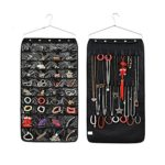 TABB 40 Pockets& 18 Hook-and-Loop Tabs Hanging Jewelry Organizer Display Earring Rings Bracelets Storage Bags Hanger (Black)
