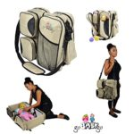 3 in 1 Diaper Bag – Travel Bassinet – Portable Baby Change Station (BEIGE) – #1 Multi-Purpose Premium Quality Waterproof Baby Travel Bag Infant Carrycot Bed Crib Mattress