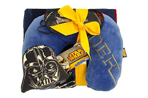 Star Wars 3 Piece Darth Vader Gift Set (Throw Blanket, Neck Pillow, Eye Mask)