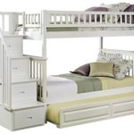 Columbia Staircase Bunk Bed with Trundle Bed, Twin Over Twin, White