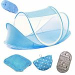 Baby Travel Bed,Infant Baby Bed Portable Mosquito Net Folding Baby Crib Netting Summer Autumn Portable Baby Cots Newborn Foldable Crib Net with Summer Sleeping Mat and Music Pack(Blue)