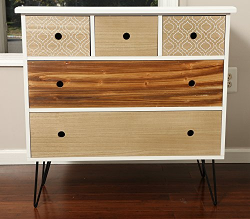 Oliver and Smith – Patchwork Collection – Wooden 5 Drawer Dresser – Patchwork Reclaimed Style – Made in USA – Small Dresser – 32″ W x 16″ D x 31″ H – 16202