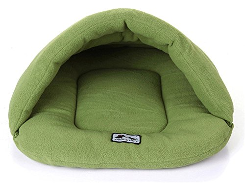 Zonepets Small / Medium / Large Dog Cat Bed House Mat Cushion Pet Cave Sleeping Bags (XS: 2lb, Green)