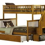 Woodland Staircase Bunk Bed with Urban Trundle, Caramel Latte, Twin Over Full