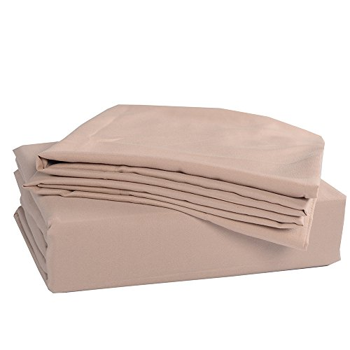 Honeymoon 1500T Solid Brushed Microfiber 3PC bed sheet set, Sheet & Pillowcase Sets – Twin, Dark Cream