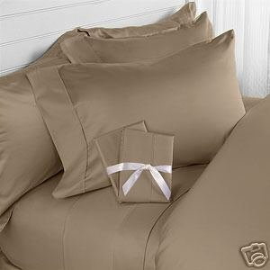 Solid Taupe 300 Thread Count King/California King Size 3PC Duvet Cover Set 100 % Cotton with button enclosure
