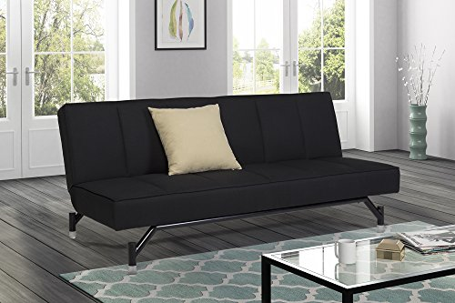 Premium Echo Convertible Sofa Futon, Rich Black Linen Couch Bed w/ Shiny Legs, Perfect Small Space Solution, Multifuctional and Adjustable, Sturdy 600 lbs. Weight Limit