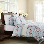 Vaulia Lightweight Microfiber Duvet Cover Set, floral Pattern Design, Blue – Full/Queen Size