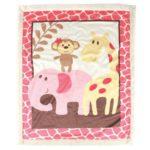 Luvable Friends Sherpa Blanket, Pink Safari