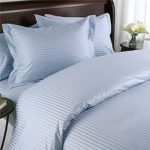 1200 Thread Count Three (3) Piece King Size Blue Stripe Duvet Cover Set, 100% Egyptian Cotton, Premium Hotel Quality