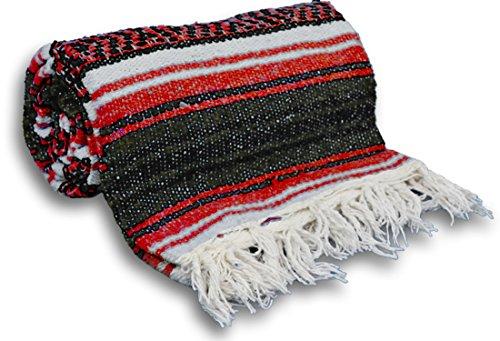 YogaAccessories Traditional Mexican Yoga Blanket ( Red)