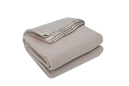 """Merino Wool Blanket in Linen Colour in Double/Queen Size, 90×90"""""""