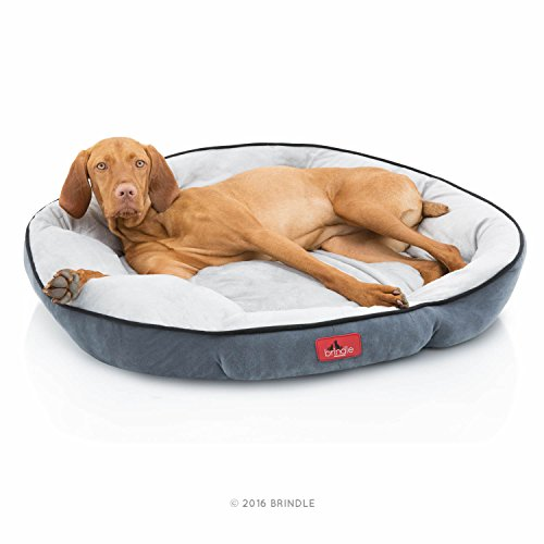 Brindle Microsuede Washable Round Bolster Pet Bed – 32 Inch