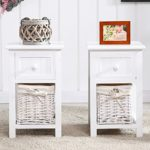 Uenjoy Pair of Retro Chic Nightstand End Side Bedside Table w/Wicker Storage Wood White