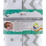 Waterproof Pack n Play Portable Mini Crib Sheet by Ely's & Co. no need for Mattress Pad Cover or Mattress Protector 2 Pack white and Grey Chevron and Polka Dots Unisex for Baby Girl or Baby Boy