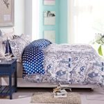 NTBAY 3 Pieces Reversible Printed Microfiber Duvet Cover Set with Hidden Button(Full/Queen, White)