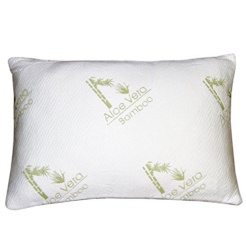 Bamboo Aloe Vera Shredded Memory Foam Pillow – FIRM – Micro-Vented Bamboo Cover – Hypoallergenic and Dust Mite Resistant by My Perfect Dreams – QUEEN
