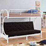 NHI Express Jordan Over C Futon Metal Bunk Bed, Twin, White