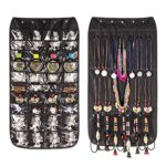 40 pockets & 20 hook-and-loop tabs Hanging Jewelry Earrings Necklace Bracelet Closet Storage Organizer Dual Sides Space-saving Household Accessory Holder Storage Bag (Black)