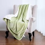 Bedsure Sherpa Blanket Throw Blankets Bed Blankets, Soft Cozy and Warm(Reversible/Textured/Fuzzy), 60″ x 80″ Sage Green