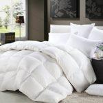 1200 Thread Count KING / CALIFORNIA KING Size Siberian Goose Down Comforter 100% Egyptian Cotton 750FP, 50oz & 1200TC – White Stripe
