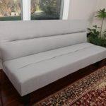 Home Life Textured Linen Sofa Futon with Adjustable Back Klik Klak Bed Sleeper Convertible High Quality, 65″ Wide, Light Silver Grey