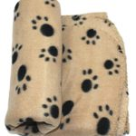 WZYuan Puppy Blanket Paw Prints Pet Cushion Small Dog Cat Bed Soft Warm Sleep Mat (Beige,S)