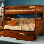 Bunk Bed with Futon, Stairs, Storage & Free Storage Pockets