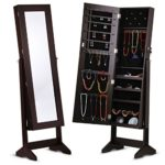 LANGRIA Free Standing Lockable Full Length Mirrored Jewelry Cabinet Armoire, 4 Angle Adjustable Organizer Storage for Rings, Earrings, Bracelets, Broaches, Brown