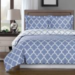 Periwinkle and White Meridian King / Cal-king 3-piece Duvet-Cover-Set, 100 % Cotton 300 TC