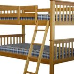Bedz King Bunk Bed, Twin Over Twin Mission Style, Honey