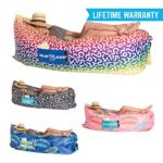 Chillbo Baggins Inflatable Lounge Bag Hammock Air Sofa and Pool Float Ships Fast! Ideal for Indoor or Outdoor Hangout or Inflatable Lounger for Camping Picnics & Music Festivals (Rainbow)