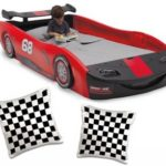 Delta Children Turbo Red Race Car Twin Bed with 2pcs Black and White Checkerboard Pillow Case, 16×16-inch|Recommended for kids of all ages