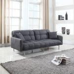 Divano Roma Furniture Collection – Modern Plush Tufted Linen Fabric Splitback Living Room Sleeper Futon (Dark Grey)
