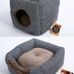 Self Warming Cat Bed and Cube: Unique 2 in 1 Design | Thick Organic Cotton with Plush Sherpa Lining and Side Pocket for Small Toys | 13″ x 13″ x 13″ (Cube Size) by Smiling Paws Pets
