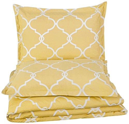 Pinzon 300-Thread-Count Cotton Percale Duvet Cover Set, Full/Queen, Straw
