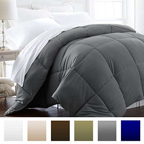 Beckham Hotel Collection Hypoallergenic Goose Down Alternative Full/Queen Comforter – Gray