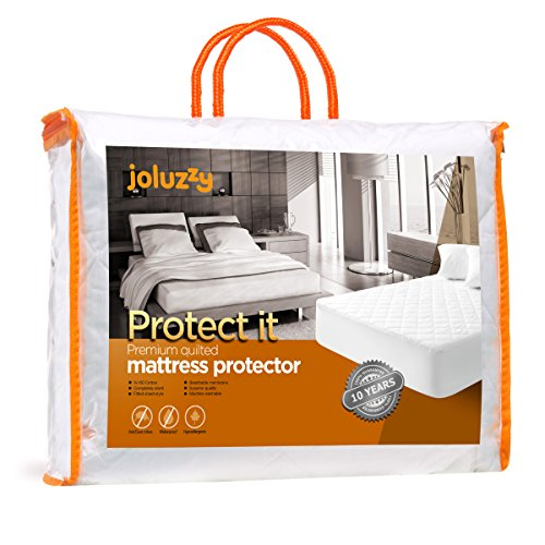 Best Quality Quilted Waterproof Mattress Pad Full Size By Joluzzy, Hypoallergenic Cotton Mattress Protector, Vinyl-free, 10-Year-Warranty